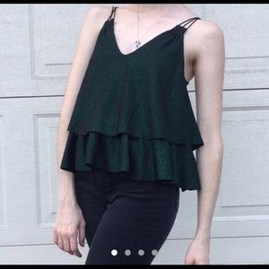 Sparkly green layered ruffle camisole top by Zara